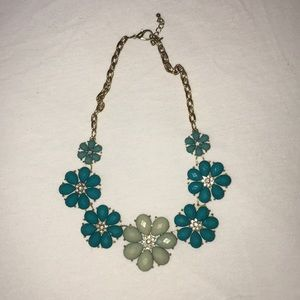 Blue and Gold Flower Chunky Necklace